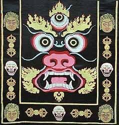 Tablier de danse sacrée Tibétain, orné d'un visage de Mahakala.